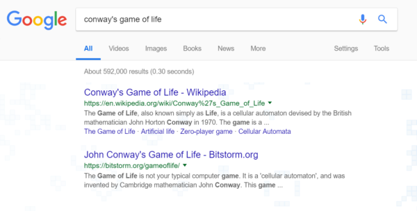 Google Easter egg: Conways game of existence
