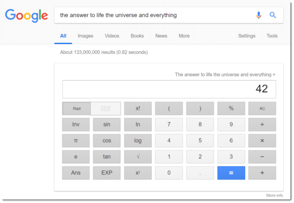 Google Easter egg: the retort to existence the universe and the entirety